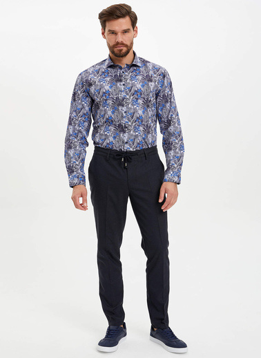 DeFacto Çiçek Desenli Slim Fit Gömlek Lacivert